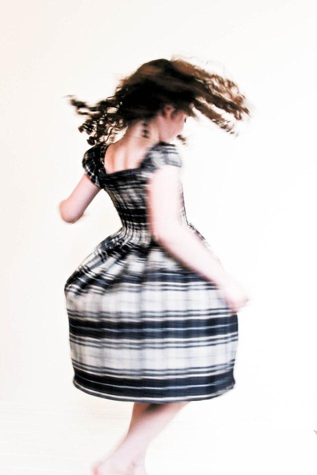 hattie bird - garden dress in plaid - twirling