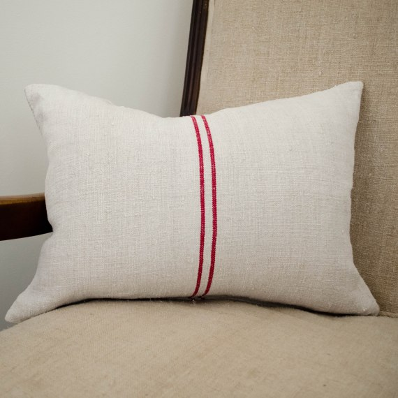 komedal road - grainsack accent pillow with two red stripes 1