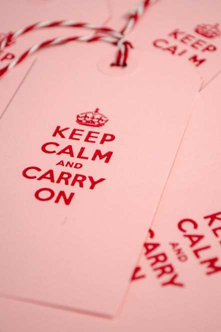 komedal road - keep calm cards - pink and red