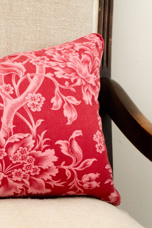 komedal road - pink and red floral pillow 3