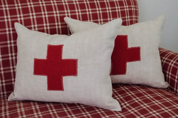 komedal road - red cross pillows