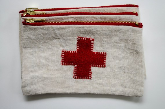 komedal road - red cross pouch with red zipper