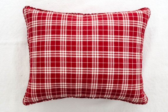 komedal road - red plaid accent pillow with mini welt 2