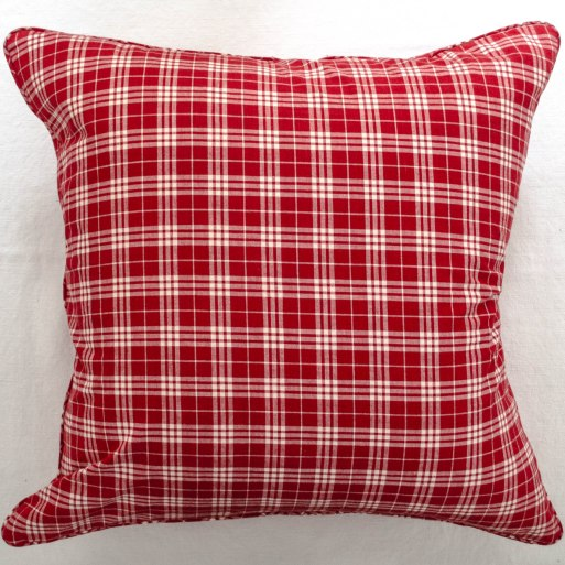 komedal road - red plaid euro pillow with mini welt 1