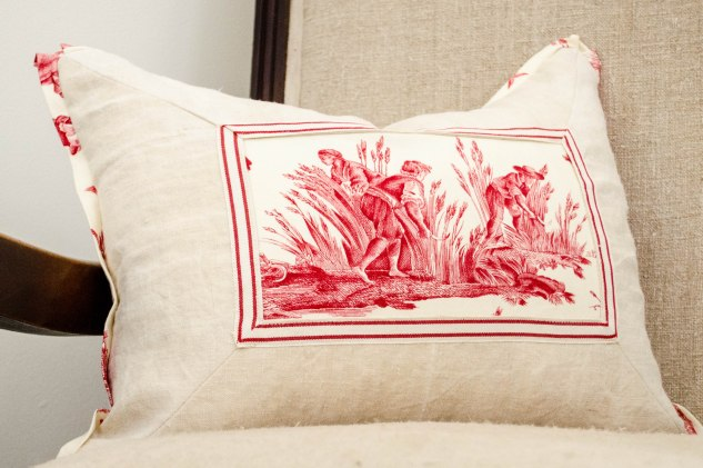 komedal road - red toile and vintage linen pillow 1
