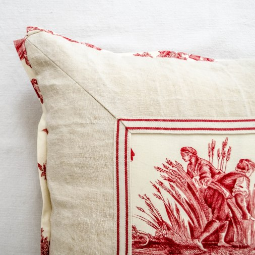 komedal road - red toile and vintage linen pillow 3