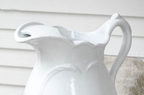 komedal road - ironstone pitcher with ice lip - top details