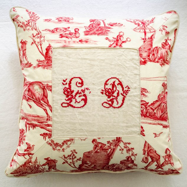 komedal road - red toile pillow with LD monogram - front