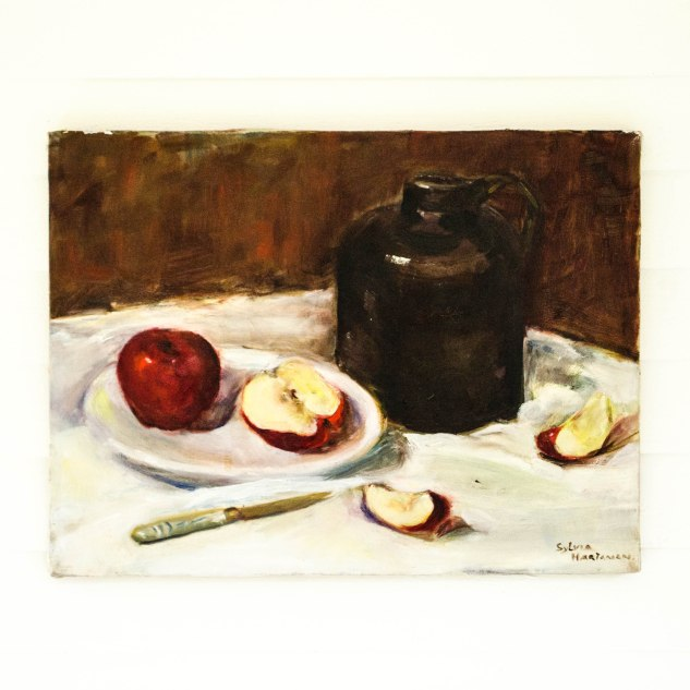 komedal road - Sylvia Hartaman Painting - jug and apples