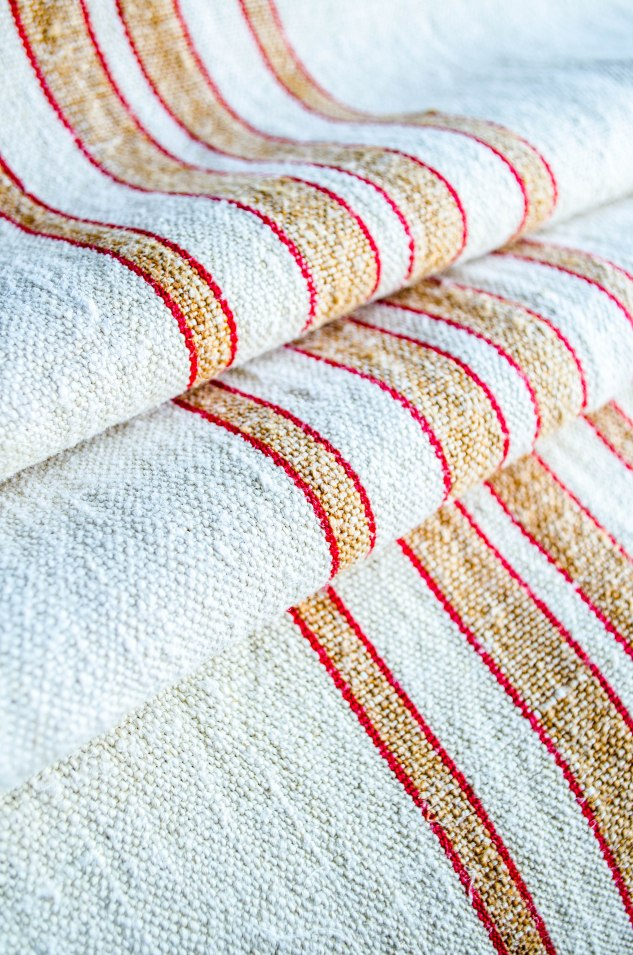 Komedal Road - Grainsack Yardage - Red and Tan Stripes 1