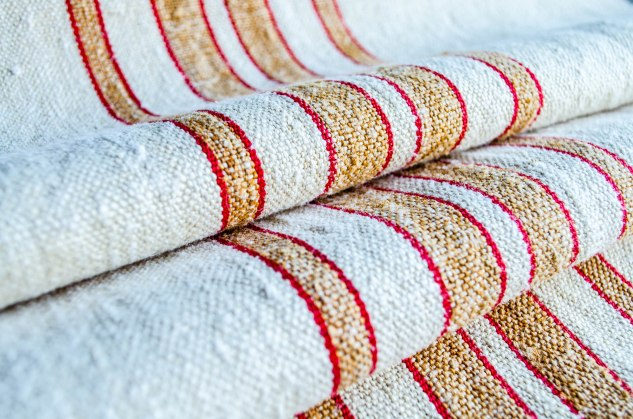 Komedal Road - Grainsack Yardage - Red and Tan Stripes 2