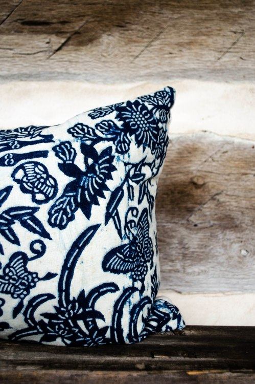 komedal road - chinese indigo stencil print pillow detail