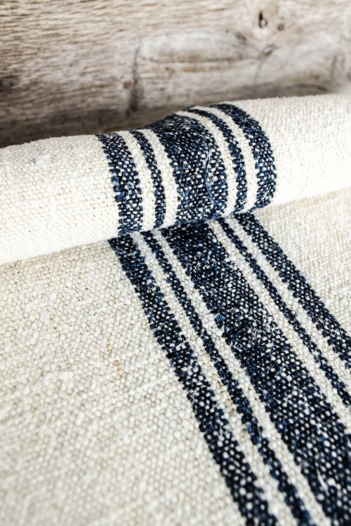 komedal road - grainsack yardage - blue stripes