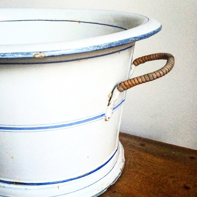FRENCH MARKET GOODS - ENAMELWARE BUCKET WITH HANDLES