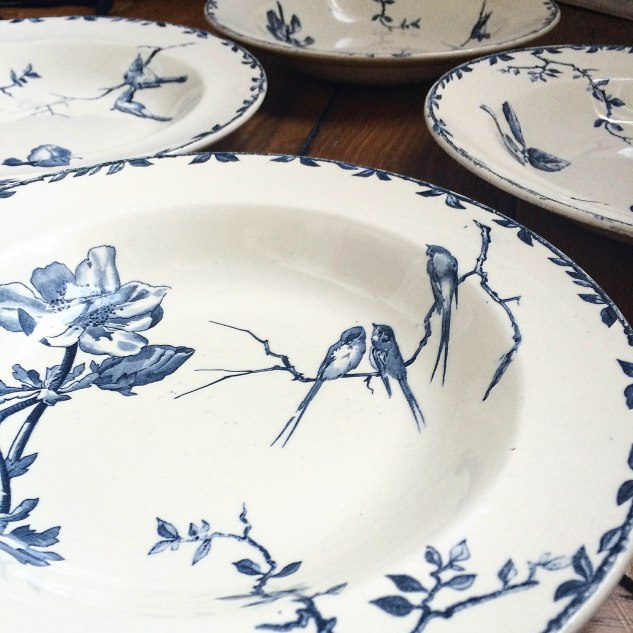 FRENCH MARKET GOODS - French Blue Transferware Bowls with Birds