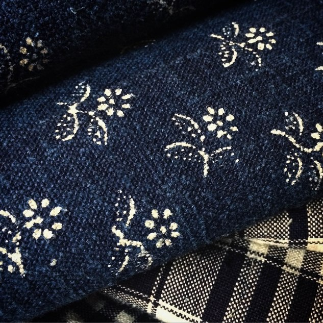 FRENCH MARKET GOODS - InDigo Fabric with white flowers
