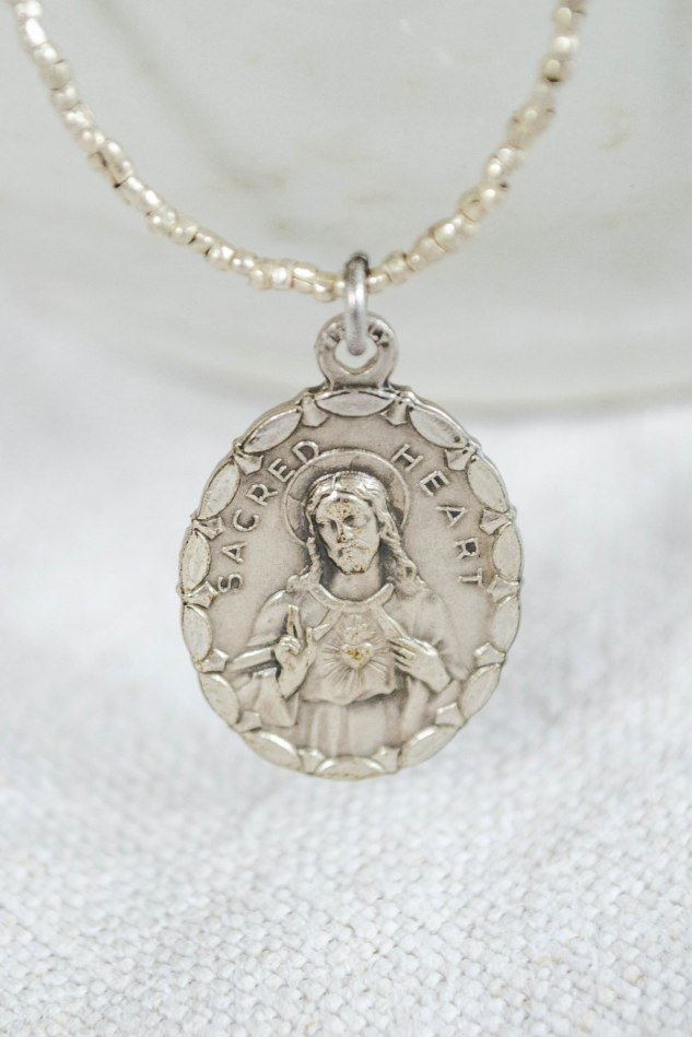 Komedal Road - Makers-Marketplace - Patricia Mackey Jewelry Designer - Vintage Virgin Mary Medal Necklace - Silver - 3